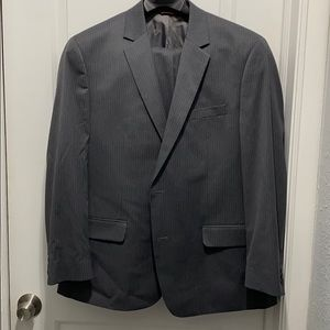 Grey pinstriped suit